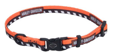 Harley-Davidson Li'l Bikers Adjustable Checkered Dog Collar - 2 Sizes, Orange - Wisconsin Harley-Davidson