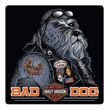 Harley-Davidson Bad Dog Bar & Shield Embossed Tin Sign, 14.5 x 14.5 inch 2011791 - Wisconsin Harley-Davidson
