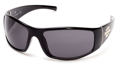 Harley-Davidson Women's Bling Bar & Shield Sunglasses, Black Frame & Smoke Lens - Wisconsin Harley-Davidson