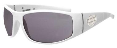 Harley-Davidson Women's Bling Bar & Shield Sunglasses, White Frame & Smoke Lens - Wisconsin Harley-Davidson