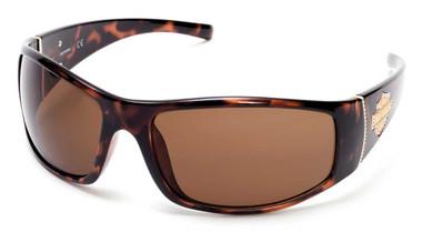Harley-Davidson Women's Bling Bar & Shield Sunglasses, Dark Havana & Brown Lens - Wisconsin Harley-Davidson