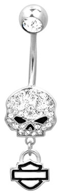 Harley-Davidson Women's Belly Jewel, Bling Willie G Skull, Silver HDZ0057 - Wisconsin Harley-Davidson