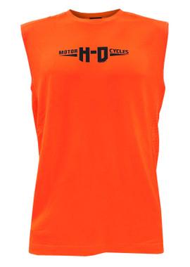 Harley-Davidson Men's H-D Sleeveless Crew-Neck Polyester Muscle Tank - Orange - Wisconsin Harley-Davidson