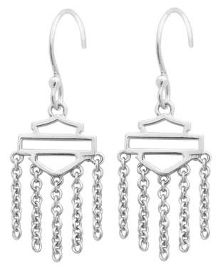 Harley-Davidson Women's Outline Bar & Shield Drop Hook Earrings, Silver HDE0466 - Wisconsin Harley-Davidson
