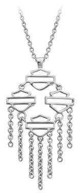 Harley-Davidson Women's Multiple Bar & Shield Drop Necklace, Silver HDN0413-18 - Wisconsin Harley-Davidson