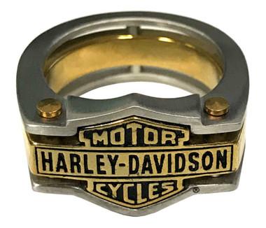 Harley-Davidson Men's Industrial Brass & Steel Ring, Stainless Steel HSR0036 - Wisconsin Harley-Davidson