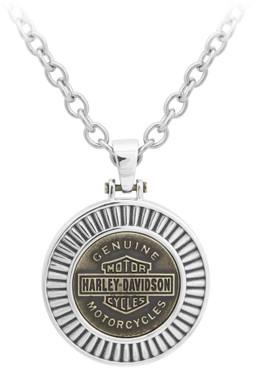 Harley-Davidson Men's Gold Toned Steel Bar & Shield Chain Necklace, HSN0050-22 - Wisconsin Harley-Davidson