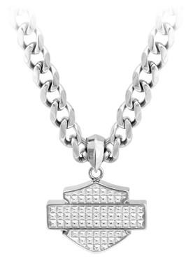 Harley-Davidson Men's Stainless Steel Bar & Shield Chain Necklace, HSN0049-22 - Wisconsin Harley-Davidson