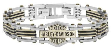 Harley-Davidson Men's Brass & Steel Bar & Shield Chain Bracelet, Black HSB0188 - Wisconsin Harley-Davidson