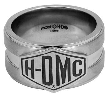 Harley-Davidson Men's Layered Silver H-D Script Ring, Stainless Steel HSR0040 - Wisconsin Harley-Davidson