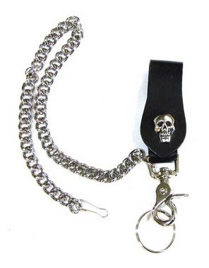 Mascorro Leather Skull Keychain Fob with Metal Biker Chain Black Leather K18-SK - Wisconsin Harley-Davidson