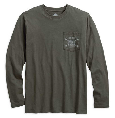 Harley-Davidson Mens HDMC Arrow Slim Fit Long Sleeve Tee Shirt, Olive 96442-18VM - Wisconsin Harley-Davidson