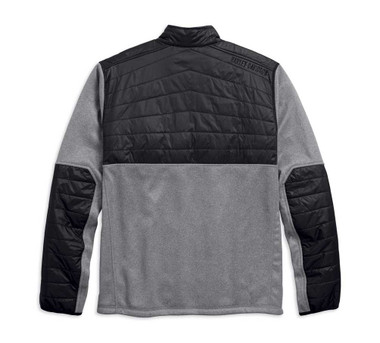 Harley-Davidson Men's Quilted Panel Bonded Fleece Jacket, Gray Black 97440-18VM - Wisconsin Harley-Davidson