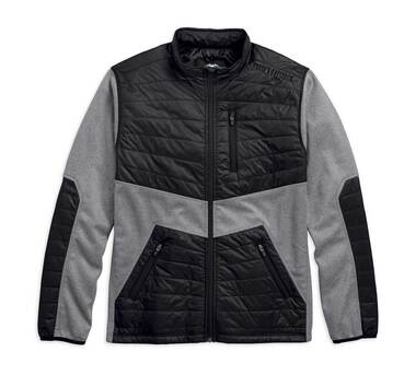 Harley-Davidson Men's Quilted Panel Bonded Fleece Jacket, Gray Black 97440-18VM - Wisconsin Harley-Davidson