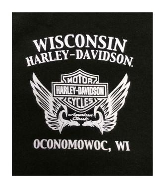 Harley-Davidson Women's Star Winged B&S Long Sleeve Round-Neck Shirt, Black - Wisconsin Harley-Davidson