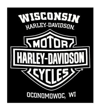 Harley-Davidson Men's Distressed Branded Oval Long Sleeve Crew Neck Shirt, Black - Wisconsin Harley-Davidson