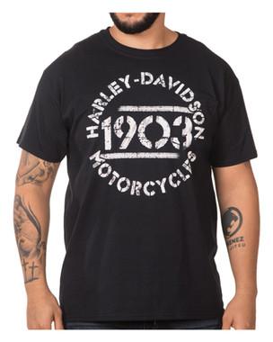 Harley-Davidson Men's Biography Chest Pocket Short Sleeve Crew T-Shirt, Black - Wisconsin Harley-Davidson