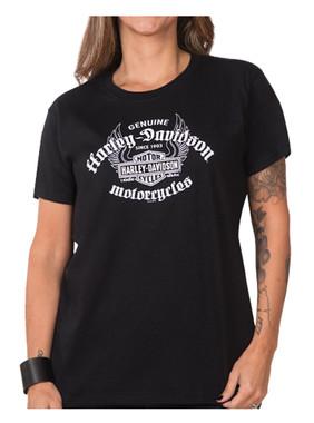 Harley-Davidson Women's Genuine Flight Short Sleeve Crew Neck Tee, Black - Wisconsin Harley-Davidson