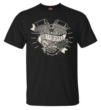 Harley-Davidson Men's Distressed Motored Short Sleeve Crew T-Shirt, Black - Wisconsin Harley-Davidson