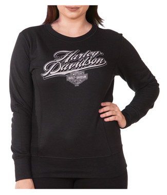 Harley-Davidson Women's Rich H-D Long Sleeve Pullover Crew Fleece, Black - Wisconsin Harley-Davidson