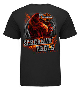 Harley-Davidson Men's Screamin' Eagle Fiery Short Sleeve Tee, Black HARLMT0276 - Wisconsin Harley-Davidson