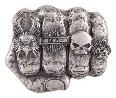 Harley-Davidson Men's Fist Forward Belt Buckle, Antique Nickel Finish HDMBU11417 - Wisconsin Harley-Davidson