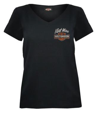 Harley-Davidson Women's I Got Mine B&S Short Sleeve V-Neck Tee, Black R002981 - Wisconsin Harley-Davidson