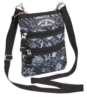 Harley-Davidson Women's Cross-Body Crossbody Sling Purse, Gray 99616-GRAY TATTOO - Wisconsin Harley-Davidson