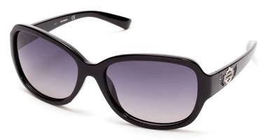 Harley-Davidson Women's Bling Bar & Shield Sunglasses Black Frame & Smoke Lens - Wisconsin Harley-Davidson