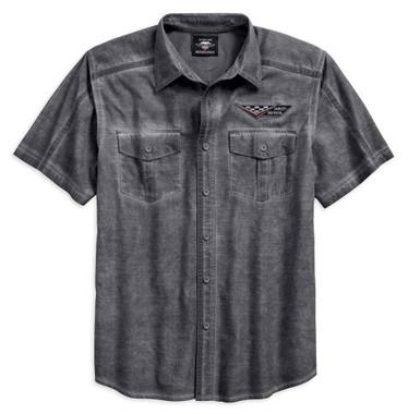 Harley-Davidson Mens Washed Textured Short Sleeve Button Garage Shirt 96122-18VM - Wisconsin Harley-Davidson