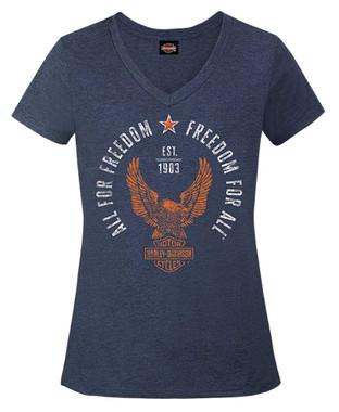 Harley-Davidson Women's Find Freedom Short Sleeve V-Neck Tee, Heather Navy - Wisconsin Harley-Davidson