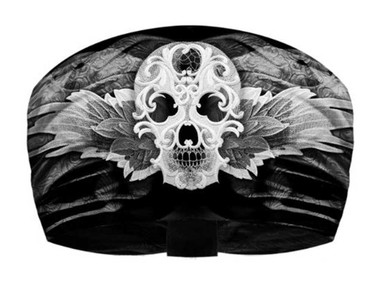 That's A Wrap Women's Carnivale Skull Knotty Band Headwrap, Black & White KB1320 - Wisconsin Harley-Davidson