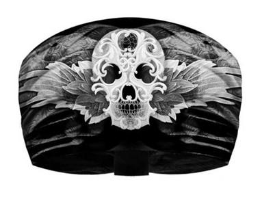 That's A Wrap Women's Carnivale Skull Knotty Band Headwrap, Black & White KB1320 - Wisconsin Harley-Davidson