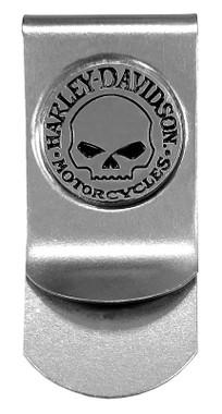 Harley-Davidson Men's Willie G Skull Metal Money Clip, Silver CORESM95-NICKEL - Wisconsin Harley-Davidson