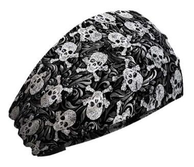 That's A Wrap Women's Swirly Skulls & Crossbones Knotty Band Headwrap, KB2815 - Wisconsin Harley-Davidson