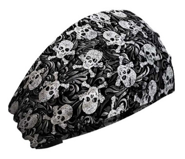 That's A Wrap Women's Swirly Skulls & Crossbones Knotty Band Headwrap, KB2815 - Wisconsin Harley-Davidson
