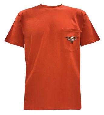 Harley-Davidson Men's Titanium Chrome Chest Pocket T-Shirt, Orange 5L38-HF5G - Wisconsin Harley-Davidson