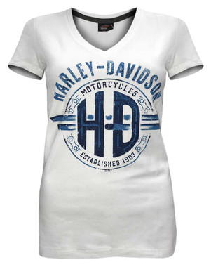 Harley-Davidson Women's Unchained Spirit Short Sleeve V-Neck Tee 5L0K-HF2N - Wisconsin Harley-Davidson
