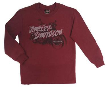 Harley-Davidson Big Boy's Crazy Fun Long Sleeve Crew-Neck Jersey Tee, Red - Wisconsin Harley-Davidson