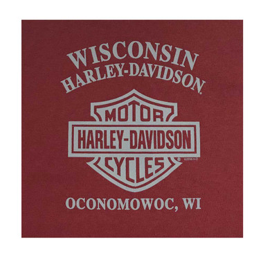 Harley-Davidson Big Boy's Crazy Fun Long Sleeve Crew-Neck Jersey Tee, Red - Wisconsin Harley-Davidson