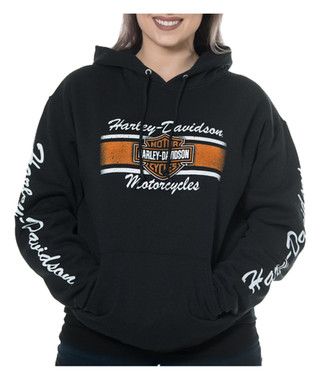 Harley-Davidson Women's Iconic B&S Pullover Hooded Sweatshirt, Solid Black - Wisconsin Harley-Davidson