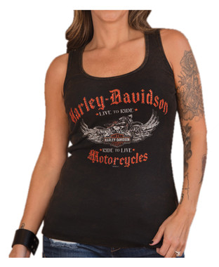 Harley-Davidson Women's Embellished Reign Sleeveless Tank Top, Washed Black - Wisconsin Harley-Davidson