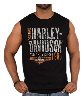 Harley-Davidson Men's Distressed Old Garage Sleeveless Muscle Tee, Black - Wisconsin Harley-Davidson
