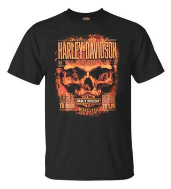 Harley-Davidson Men's Hardcore Flaming Skull Short Sleeve Crew T-Shirt, Black - Wisconsin Harley-Davidson