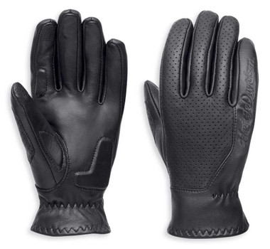 Harley-Davidson Women's Thayne Perforated Leather Gloves, Black 97118-18VW - Wisconsin Harley-Davidson