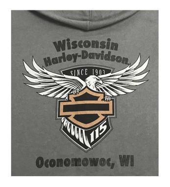 Harley-Davidson Women's 115th Anniversary Practical Wing Full-Zip Hoodie, Gray - Wisconsin Harley-Davidson