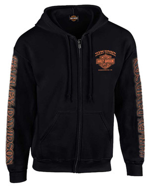 Harley-Davidson Men's Eagle Piston Long Sleeve Full-Zip Hoodie, Black 30299950 - Wisconsin Harley-Davidson