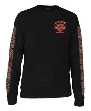 Harley-Davidson Men's Eagle Piston Long Sleeve Crew Shirt, Black 30299947 - Wisconsin Harley-Davidson