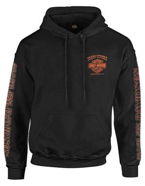 Harley-Davidson Men's Eagle Piston Long Sleeve Pullover Hoodie, Black 30299949 - Wisconsin Harley-Davidson