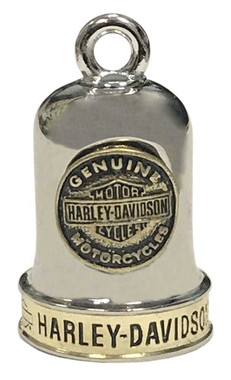 Harley-Davidson Sculpted B&S Medallion Ride Bell, Brass & Steel Finish HRB095 - Wisconsin Harley-Davidson
